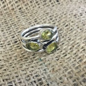 Layered yellow green gemstone silver colored ring